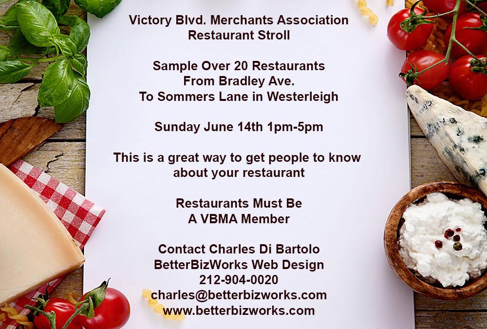 Restaurant Stroll Planned June 14th