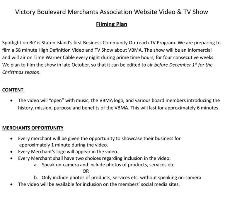 VBMA is creating a Video on Victory Blvd.